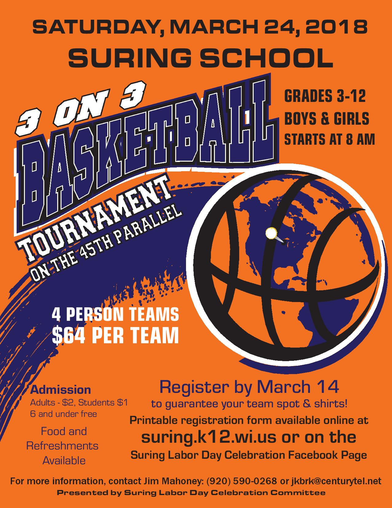 suring school 3 on 3 basketball tournament  u2013 march 24  2018